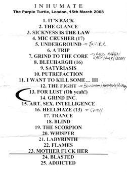 Tracklist of INHUMATE