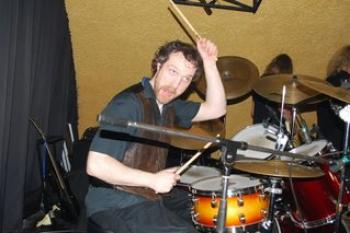 Drummer Connor in action