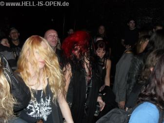 Fans and organizer at Prostitute Disfigurement