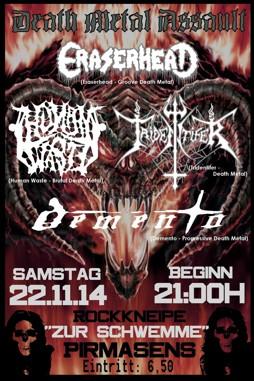 """Flyer vom Death Metal Assault am 22.11.2014 in der Rockkneipe """"Zur Schwemme"""" in Pirmasens"""