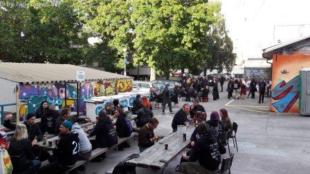 Fans outside the venue