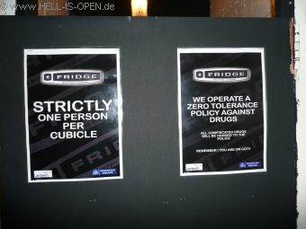 """At the toilet """"Strictly One person per cubicle""""  *eg*"""