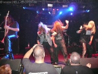 Fans have entered the stage during the ASPHYX Gig