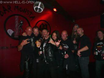 Aftershow party at Bar Monsta Tibo / HIO, Wannes / ASPHYX, Pit / HIO, Paul / ASPHYX, Mitch / HIO, Martin / ASPHYX, Bob / ASPHYX (left to right)