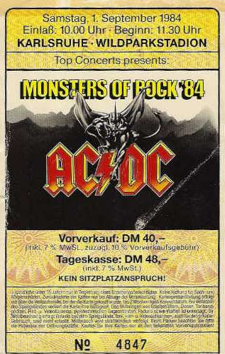Monsters of Rock 84, AC/DC