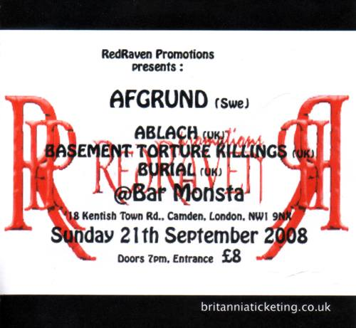 Afgrund, Ablach, BTK, Burial @ London, Bar Monsta