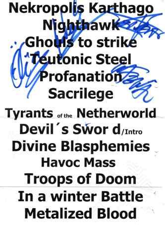 Setlist und Autogramme von Desaster